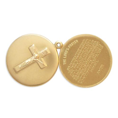 2pc Crucifix/Lords Prayer Locket - Item # S2132  - Salvadore Tool & Findings, Inc.