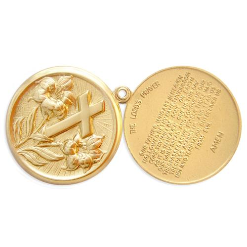 2pc Floral Cross/Lords Prayer Locket - Item # S2164 - Salvadore Tool & Findings, Inc.