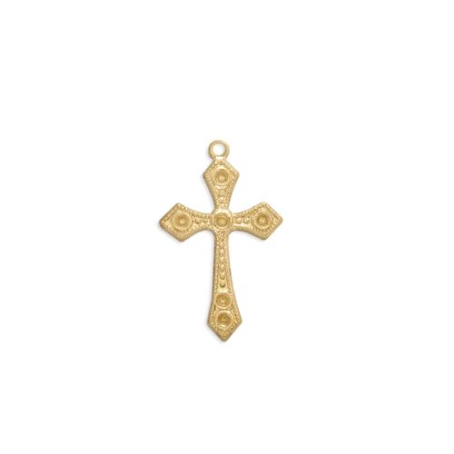 Cross Charm w/stone settings - Item # S2743 - Salvadore Tool & Findings, Inc.
