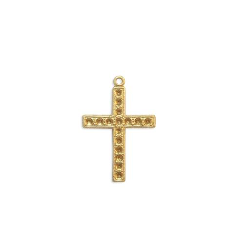 Cross Charm w/stone settings - Item # S2744 - Salvadore Tool & Findings, Inc.